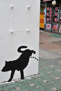 When I saw this picture in Hongdae, Seoul I giggled like a little girl.  It is so simple.