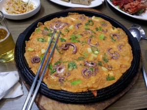 It is so delicious.  This one, from Gwangwhamun Square was served on a hot platter.  It was crispy and so good.