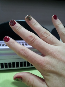 I had my nails did for Christmas.  This was one of the highlights.  Getting a manicure in Korea is a pleasure!